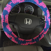 Steering Wheel Cover made with Lilly Pulitzer Pack Your Trunk Fabric - Fall 2015