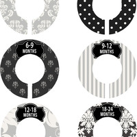 Custom Baby Closet Dividers Boy Girl Black and Grey Damask Nursery Closet Dividers Baby Shower Gift Baby Clothes Organizers Baby Nursery