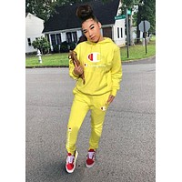 Champion Hot Sale Women Casual Long Sleeve Hoodie Top Pants Set Two-Piece Yellow