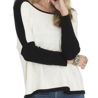 Ivory Color Block Sweater