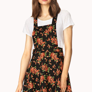FOREVER 21 Sweetest Flower Overall Dress Black/Orange