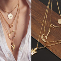 Gold Plated Circular Arrow Angel Wing Pendant Necklace Choose From Various Styles Fashion Jewelry