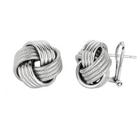 Sterling Silver Rhodium Finish 14mm Love Knot Earrings