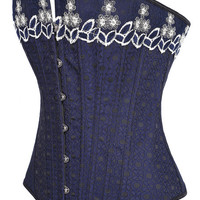 Blue Floral Embroidery Corset