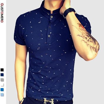 Summer Guitar Printed Stand Collar Polo Shirt Men Short Sleeve Casual Men Shirts Slim Fit Polo Homme Cotton Mens Polos