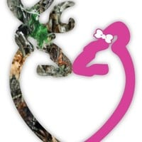 "Heart Camo Buck and Pink Doe with the bow sticker decal 4"" x 5"""