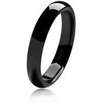 Women's Classic Dome Black Polished Tungsten Carbide Ring 4mm