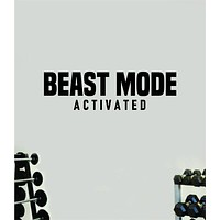 Beast Mode Activated Wall Decal Home Decor Bedroom Room Vinyl Sticker Art Work Out Quote Beast Gym Fitness Lift Strong Inspirational Motivational Health Girls