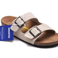 Men's and Women's BIRKENSTOCK sandals Arizona Soft Footbed Suede Leather 632632288-086