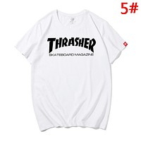 Thrasher Summer New Fashion Bust Letter Print Women Men Top T-Shirt 5#