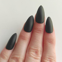 Matte Black Stiletto Nails, False, Fake, Acrylic, Handpainted, Press On Nail Set