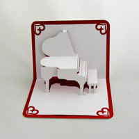 MARY ME VALENTIN'S GRANd PiANO 3D Pop Up Card Home Decoration Handmade Handcut in WHITe and Bright Shimmery Metallic ReD OoAK.