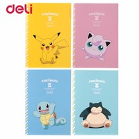 Deli  Stitching Binding Notebook Paper cute pikachu Four Colors Cartoon Diary Notebook kawaii book School Office SuppliesKawaii Pokemon go  AT_89_9