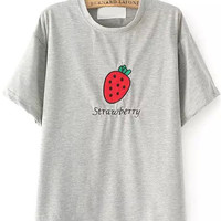 Strawberry Patch Embroidered Grey T-Shirt