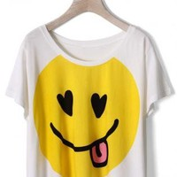 White T-Shirt with Yellow Smile Face Print Front