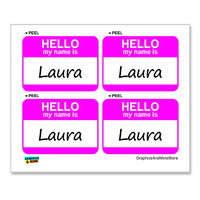 Laura Hello My Name Is - Sheet of 4 Stickers