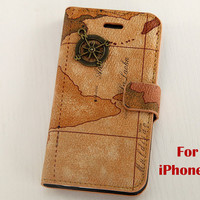 Iphone 5 Case, vintage map iphone 5 case, world map pu leather iPhone 5 Case, case for iphone 5