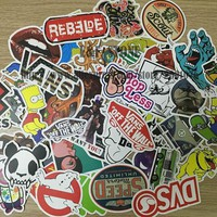 VONE05F Day First TD ZW 100pcs/pack DIY Waterproof Funny Laptop Car Sticker For Trunk Skateboard Guitar Gridge Decal Random Mixed Toy S
