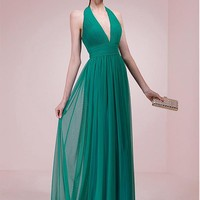 [88.99] Graceful Tulle Halter Neckline A-line Prom Dresses With Beaded Lace Appliques - dressilyme.com