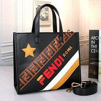 FENDI Popular Women Stylish Leather Handbag Tote Shoulder Bag Crossbody Satchel Black