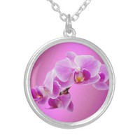 Orchids Medium Silver Plated Round Necklace