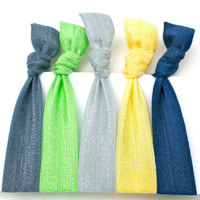 FOE Hair Bands (5) Knotted Hair Tie Bracelets - Fabric Hair Ties - No Pull Hair Ties - Girl's Hair Accessories - Great Gift for Women