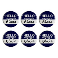 Blaze Hello My Name Is Plastic Resin Button Set of 6