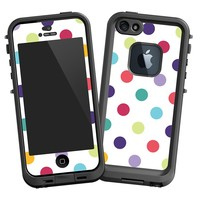 """Polka Dot Explosion on White """"Protective Decal Skin"""" for LifeProof fre iPhone 5/5s Case"""