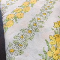Vintage Yellow & Green Tulip, Daffodil, and Daisy Floral Full Flat Sheet- Cottage, Bright, Cabin, Shabby