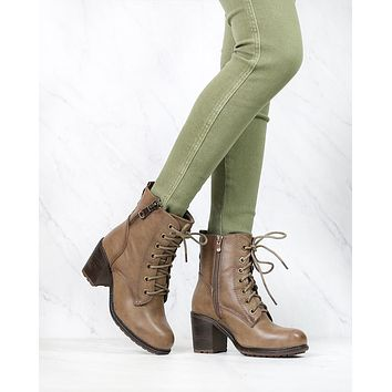 Amelia Distressed Bootie in Khaki