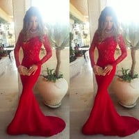 Long Sleeves Red Lace Long Prom Dresses Mermaid Evening Dresses Sexy Prom Dress On Sale