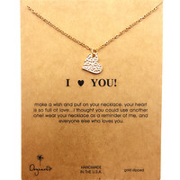 Dogeared Moon Love Heart Gold Plated Chain Clavicle Necklace