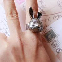 Ring, retro style rabbit ring, bunny ring, gift for girlfriend