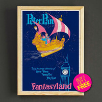 Vintage Disnyland Peter Pan Poster Frontierland Attraction Print Home Wall Decor Gift Linen Print - Buy 2 Get 1 FREE - 358s2g