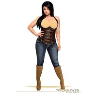 Daisy Corsets Top Drawer Steel Boned Distressed Faux Leather Underbust Corset Top