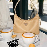 PRADA 2020 New Nylon Suit  Retro Hobo-Underarm Bag-Leisure-Crescent Crossbody Bag Apricot
