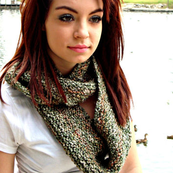 Knitted Infinity Scarf - Seamless Scarf - Eternity Scarf - Camouflage Scarf - Green Neckwarmer - Unisex