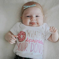Whatever sprinkles your donut quote baby Onesuit for newborn and babies 6 Month, 12 Month, and 18 Month graphic baby Onesuit