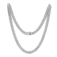 """Stainless Steel 14k White Gold Finish Iced Out 30"""" Miami Cuban Link unique Lock Designer Chain"""