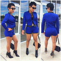 Blue Long Sleeve Top and Short