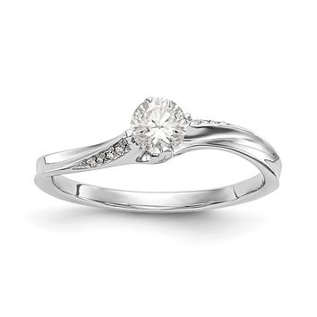 1/3 Ct. Natural Round Diamond By-Pass Engagement Bridal Ring 14K White Gold