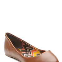 Chestnut Faux Leather Pointy Toe Flats
