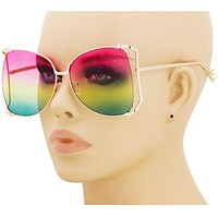 Oversized Designer Sunglasses Fashion Women Pearl Retro Clear Sun Glasses 2018