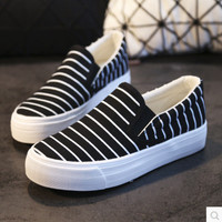 new spring autumn low platform canvas shoes women pedal shoes striped slip on casual shoes size 35-39 black white blue