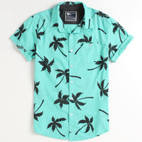 Modern Amusement Al Palm Print Short Sleeve Woven Mens Shirt