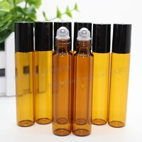 50pcs x 10ml amber roll on roller bottles for essential oils roll-on refillable perfume bottle deodorant containers