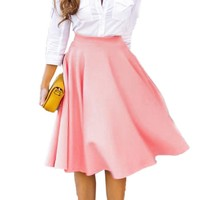 Finejo Women Bowknot High Waisted Midi Skirt A-line Flared Fall Winter Skirt