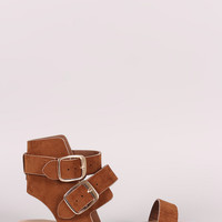 Bamboo Suede Double Buckled Ankle Strap Flat Sandal