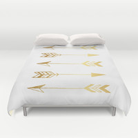 Faux gold foil arrows Duvet Cover by Jaclyn Rose Design | Society6