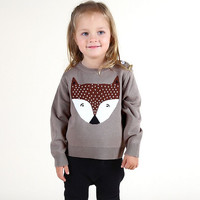 New Autumn Baby Boys Girls Costume Crochet FOX Top Animal Sweater Children Toddler Clothing Pullover Bebe